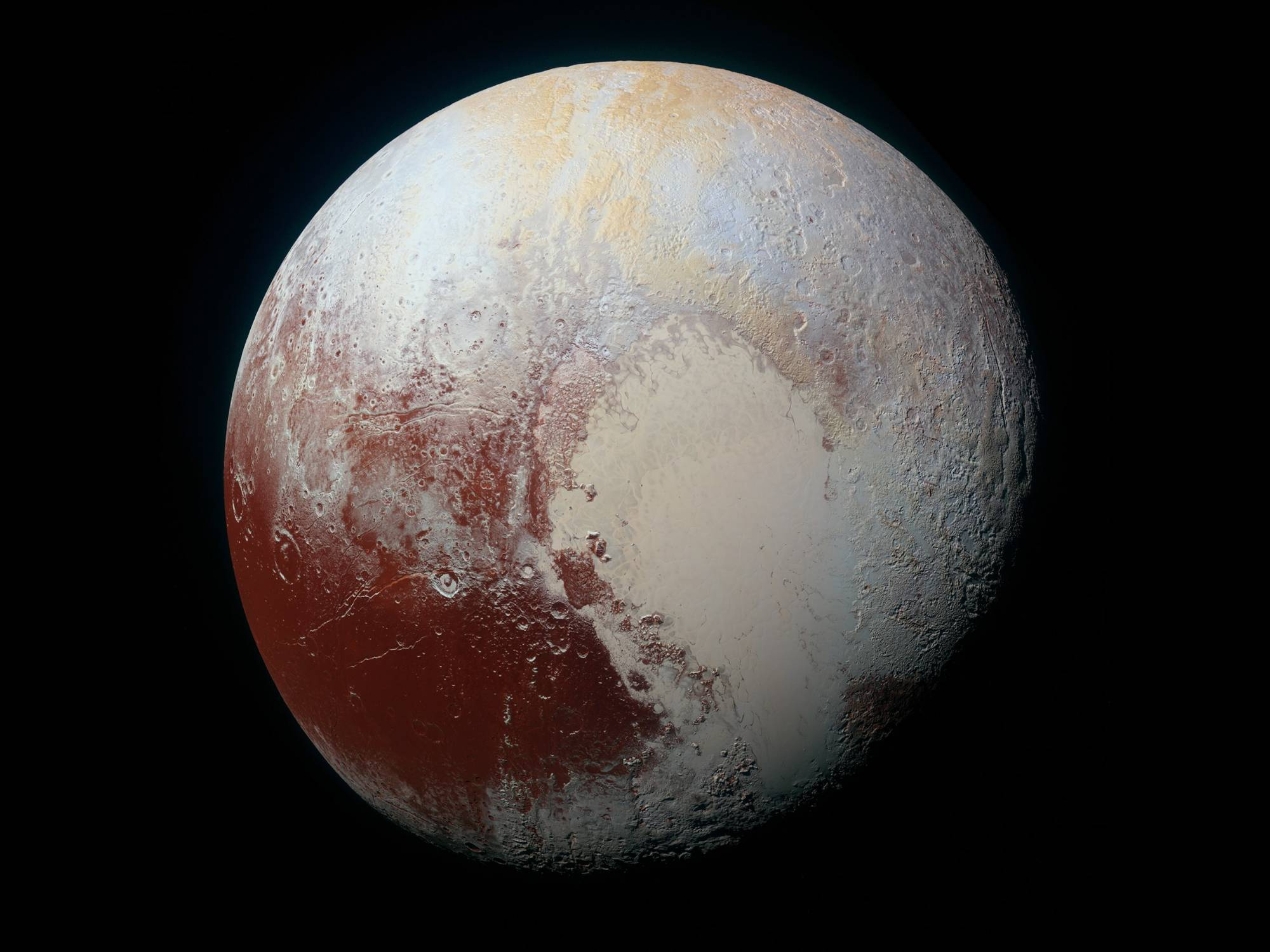 Cartoon of Pluto emphasizing its heart-shaped ice sheet